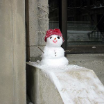 Photo of a small snowman