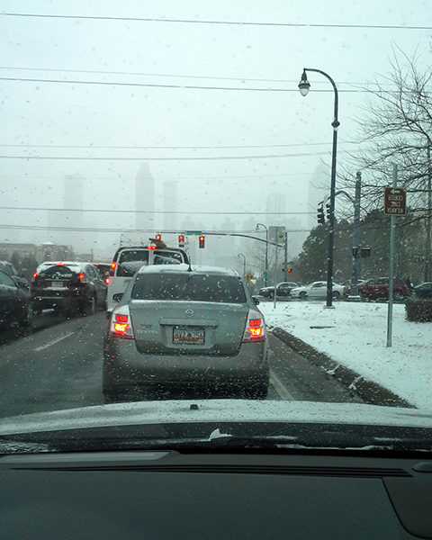Photo of traffic in an Atlanta snow storm