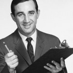 Vintage photo of a man with a clipboard