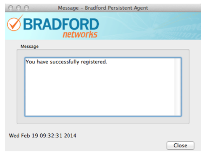 Screen shot of Bradford Networks popup window