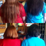 Photo of two women; before and after getting haircuts