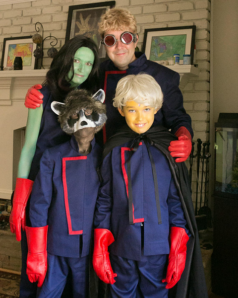 Photo of family dressed in costumes