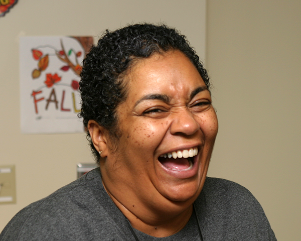 Photo of a woman laughing