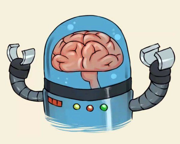 Illustration of a robot with a brain