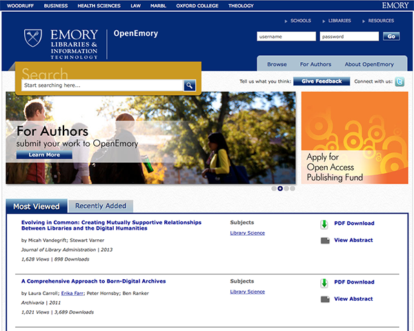Screen image of OpenEmory website's home page