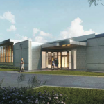 Architectural rendering of new building
