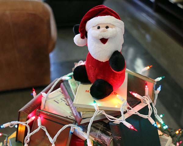 santa doll on some books