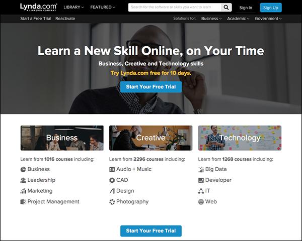 Image of Lynda.com home page