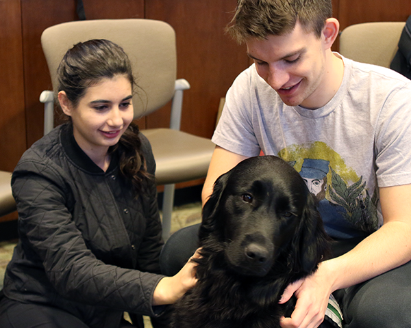 Photo of students petting a dog