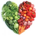 Heart shape made from vegatables & fruit