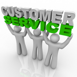 "Clip art of figures holding a ""customer service"" sign"