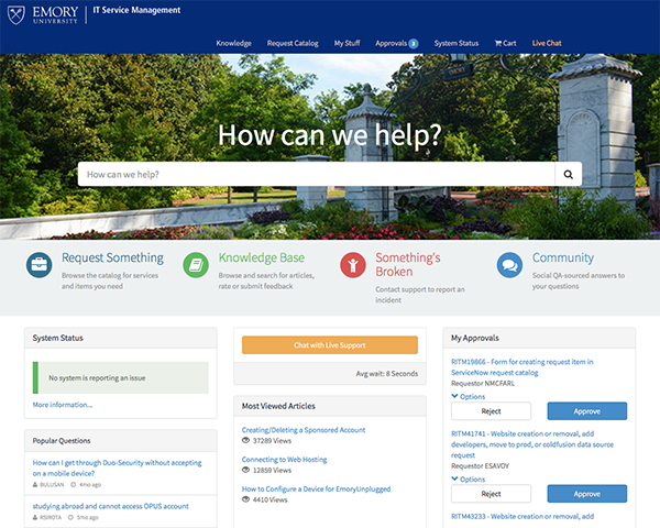Screen image of Emory's ServiceNow homepage