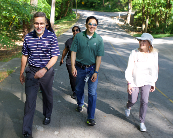 employees on a walk