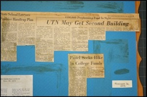 Detached newspaper article with stain map