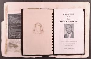 Rev Turner's death certificate and funeral program