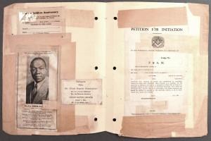 Masking tape on ephemera, announcements, and Masonic petition