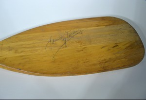 Signed Canoe Paddle, detail of signature, James Dickey Papers