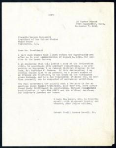 Letter from Robert Lowell to President Roosevelt, September 7, 1943