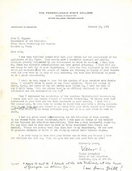 Letter from Viktor Lowenfeld to John Biggers, January, 1951