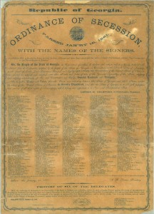 Ordinance of secession passed Jan'ry 19, 1861, with the names of the signers