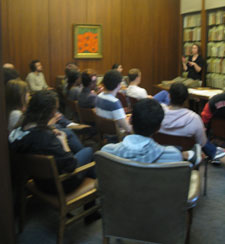 Elizabeth Chase leads an instruction session in the Harris Room at MARBL