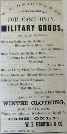 Advertisement in the Southern Confederacy