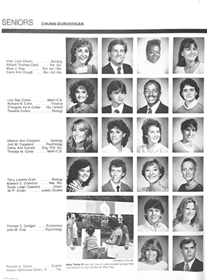 Senior photographs in the 1985 Campus yearbook