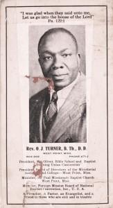 Ollie Turner, Baptist Minister