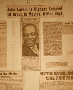 Newspaper clippings in the Larkin scrapbook