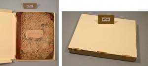 One of the Scott scrapbooks housed in a custom-fitted, archival box