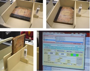 Using the CMI system to digitally record the precise height, width, and depth of a book directly into the order form for a custom-manufactured box