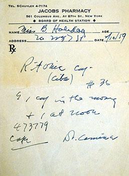 Billie Holiday's Prescription, 1959