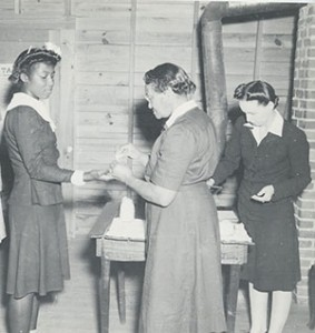 Women receive health services, Emory University Field Station on Ichuaway Plantation, Baker County, Georgia, ca. 1938-1945. Photograph by United States Public Health Services Office of Malaria Control in War Areas, Melvin H. Goodwin Papers, Manuscript, Archives, and Rare Book Library, Emory University.