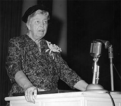 Former First Lady Eleanor Roosevelt speaks at the World Affairs Conference held at Emory University in 1960