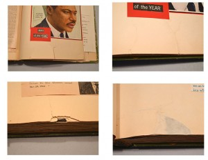 Top Left: There were extensive tears along the tail and fore edges of the pages. Top Right: Tears were mended with a strong, thin tissue and very dry wheat paste.