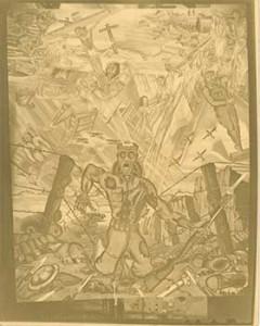 """John Biggers', Mural, """"Dying Soldier"""", 1945"""