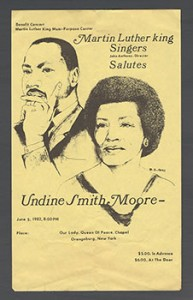 """Martin Luther King Singers Salutes Undine Smith Moore,"""" benefit concert at Our Lady, Queen of Peace Chapel in New York in 1982"""