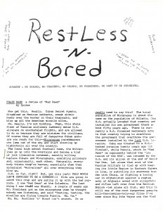 Popular culture and politics were often critiqued in zines.