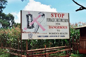 A campaign against female genital cutting – a road sign near Kapchorwa, Uganda, Amnon Shavit, 2011/CC Licensed