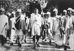 Gandhi during the Salt March, March 1930/public domain