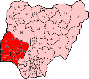 Map indicating where Yoruba is spoken in Nigeria/CC Licensed