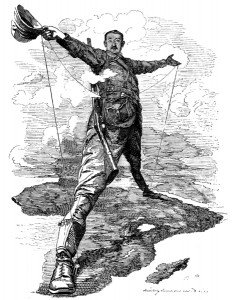 Edward Linley Sanbourne, The Rhodes Colossus: Caricature of Cecil John Rhodes, after he announced plans for a telegraph line and railroad from Cape Town to Cairo, 10 December 1892/public domain