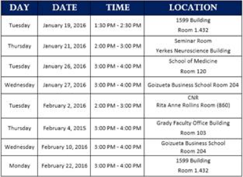 Outreach Session Schedule