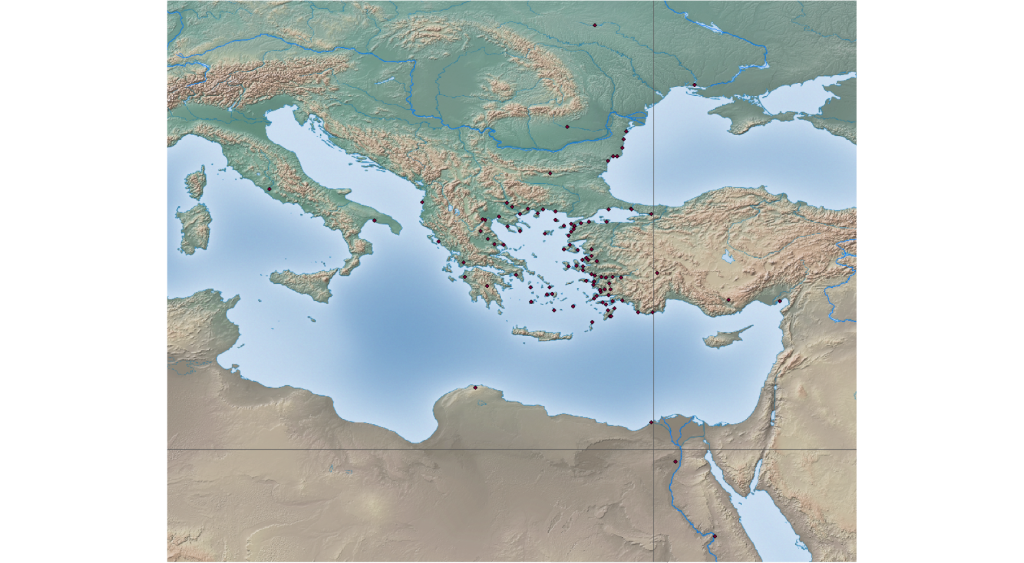 The cities represented in the Samothracian epigraphic record around the Mediterranean.