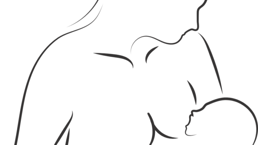 black-and-white outline of a woman breastfeeding an infant