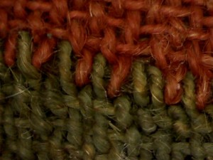 This image shows the place where the red and the green triagles were not connected by stitching