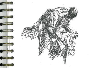 John Biggers Sketch of Man Picking Cotton