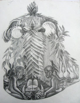 """John Biggers Sketch for """"Our Grandmothers"""""""