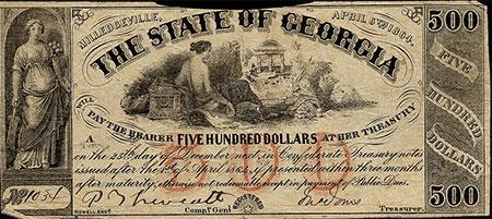 Georgia Confederate $500 bill