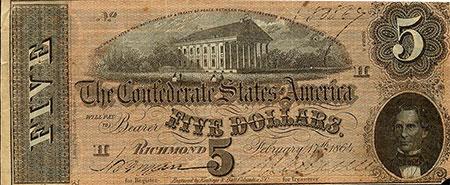 Confederate Five Dollar Bill